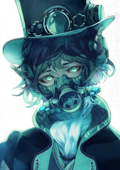角とガスマスクと青 塗りが迷走しているだいぶ前に描いたやつ 鉛筆描きの上から塗ったのでだいぶきたない