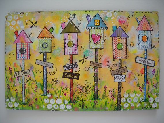 original mixed media birdhouses art wooden signs painting art whimsical wall décor quotes wall art