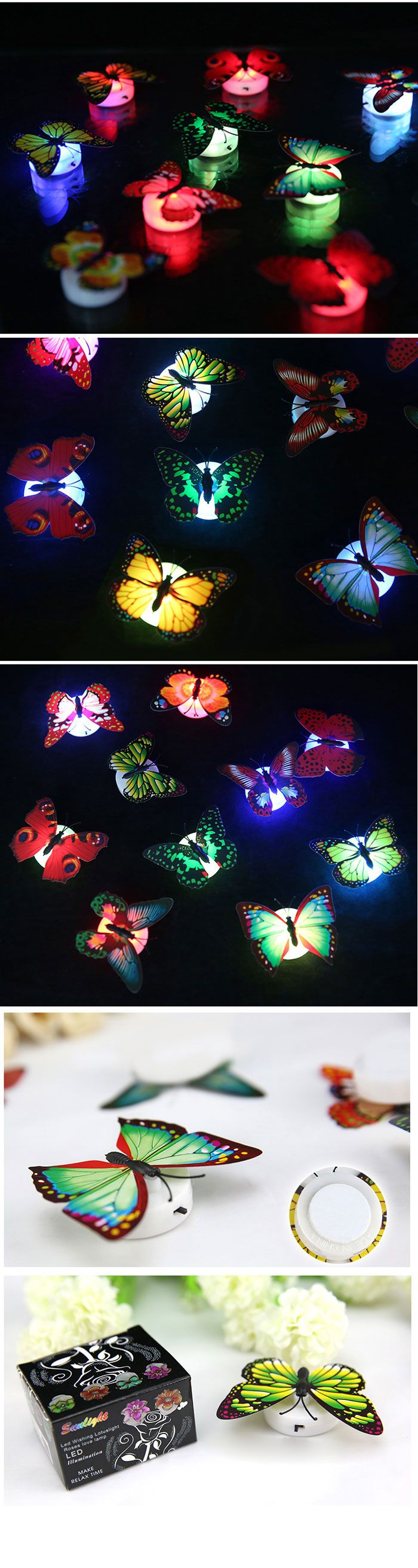 1pcs 3D Color Changing LED Butterfly Light Wall Night Lights-1.80 and Free Shipping| GearBest.com