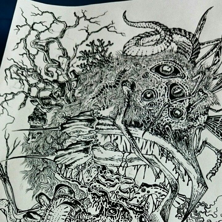 My inky creation has become a horrific screen printed t-shirt and soon to be 2tone poster print..