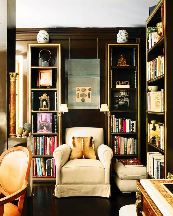 Library room: Libraries, Bookshelves, Idea, Chairs, Interiors Design, Reading Nooks, Books Nooks, Small Spaces, Dark Wall
