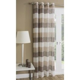 A modern and on trend pastel voile curtain, with bold horizontal strikes in muted brown and natural tones, with eyelet heading suitable for rods and poles.