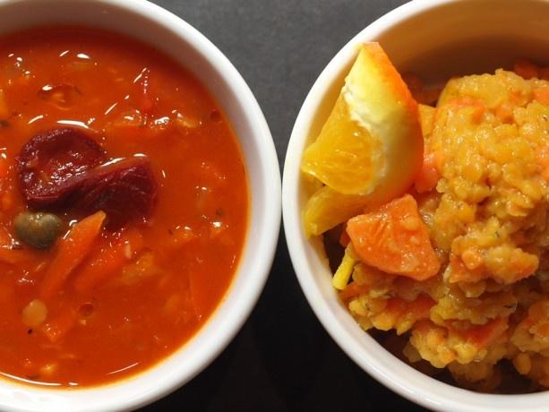 Staroświecka czerwona soczewica z batatem, pomarańczą i curry