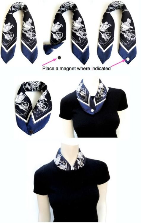 Dress up the basic crew neck T --- How to line a crew neck with a Gavroche (pocket square scarf)