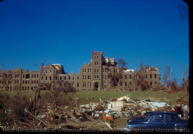 he damage from the Worcester Tornado at Assumption College (now Quinsigamond Community College, June 1953, Worcester Massachusetts. Photographer unknown. Want a copy of this photo? >Visit our rights and reproductions page for more information. #Worcester #WorcesterMA #WorcesterHistory #Tornado #1953Tornado #WorcesterTornado #AssumptionCollege #Storms #Weather #Exhibit #NewEngland #Photography #History #Worcester911 #AmericanHistory
