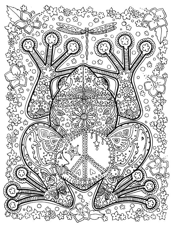 Free Coloring Page Adult Big Frog Of With Harmonious Patterns