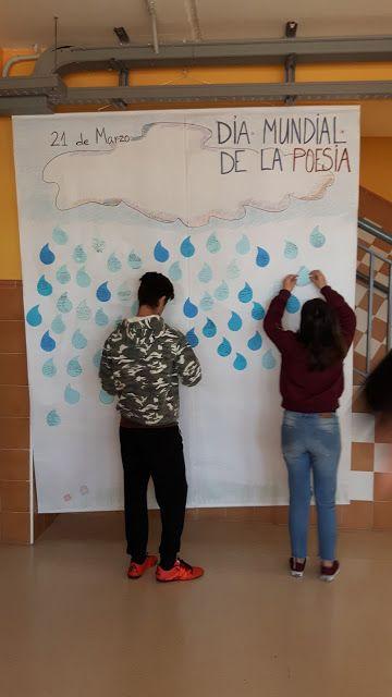 Los alumnos de PMAR de 2º preparan la LLUVIA DE POEMAS. Biblioteca IES Profesor Tomás Hormigo. Library