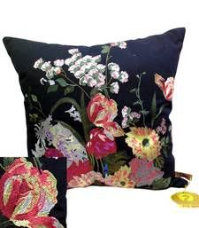 Buy Embroidered Black Floral Cushion Cover pillow-cover online