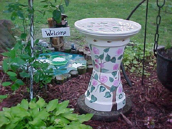 painted terra cotta pot birdbath