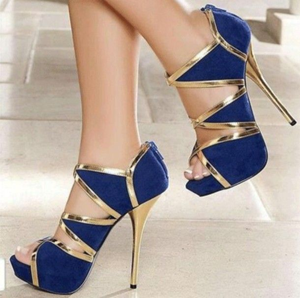 Blue strappy heels