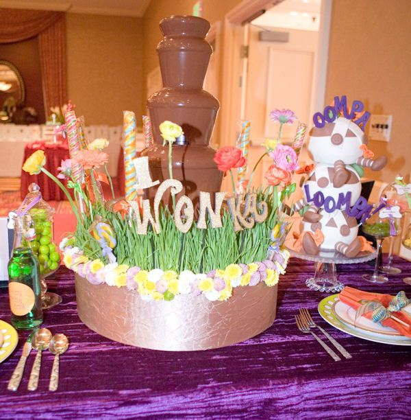 """Love the idea of surrounding a chocolate fountain with a """"landscape."""" Looks more like the chocolate waterfall in the movie."""