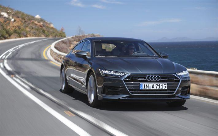Download wallpapers Audi A7 Sportback 55 TFSI, 4k, road, 2018 cars, motion blur, woman driving, new A7 Sportback, Audi