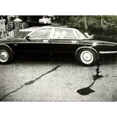Lucchese Capo Mike Salerno's Jaguar abandoned on a Bronx Street for about a week . Blood Stain leaking from trunk where Salerno's body was found . Salerno died of a gunshot wound to the chest that perforated his heart and a stab wound to his neck that slit his trachea. (1990)