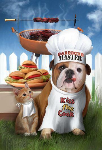 BBQ Master by Thomas Wood ~ bulldog ~ kitten