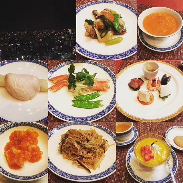 Instagram【10mo3.mkne】さんの写真をピンしています。 《女子会じゃなくてお局会。 #新宿野村ビル #中華料理 #ホテルオークラ #夜景 #50階 #一万円のコース #北京ダック #ピータンは苦手 #中国料理桃里》