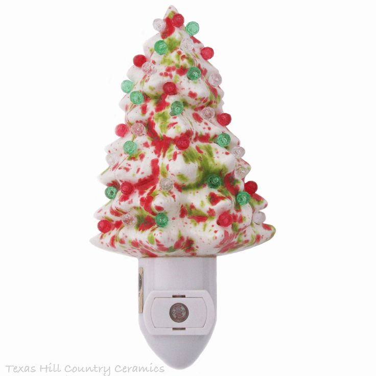 ceramic christmas tree night light in peppermint colors of red white green with automatic - Christmas Tree Night Light