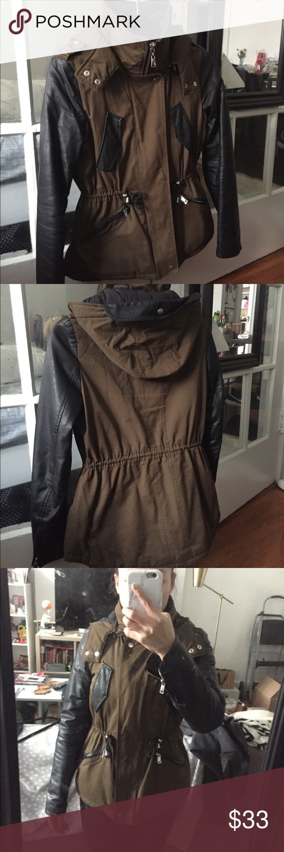Zara Quilted Jacket with Leatherette Sleeves A transitional piece for spring or fall. Jacket is in very good condition and has been washed. Sleeves are faux leather. Collar is lined with wool. Zara Jackets & Coats Utility Jackets