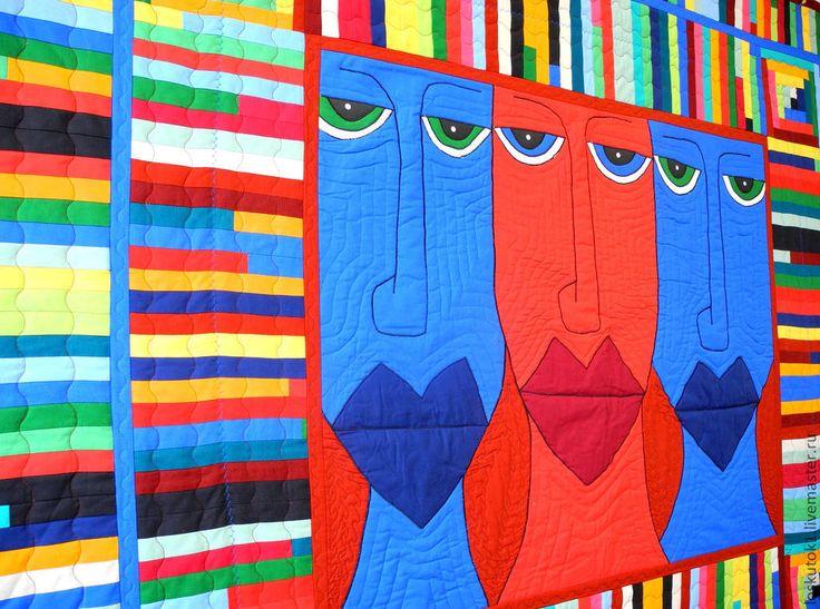лоскутное покрывало МОАИ лоскутное одеяло ======================== 195 х 150 см. центральное панно -- аппликация. ======================== лоскутный плед лоскутные пледы шитье одеяло одеяла покрывала пэчворк квилтинг лоскутная техника для дома уют стиль печворк Patchwork Quilting квилт картина арт работа мастер мастера одеяло из лоскутов лоскутное одеяло лоскутные одеяла