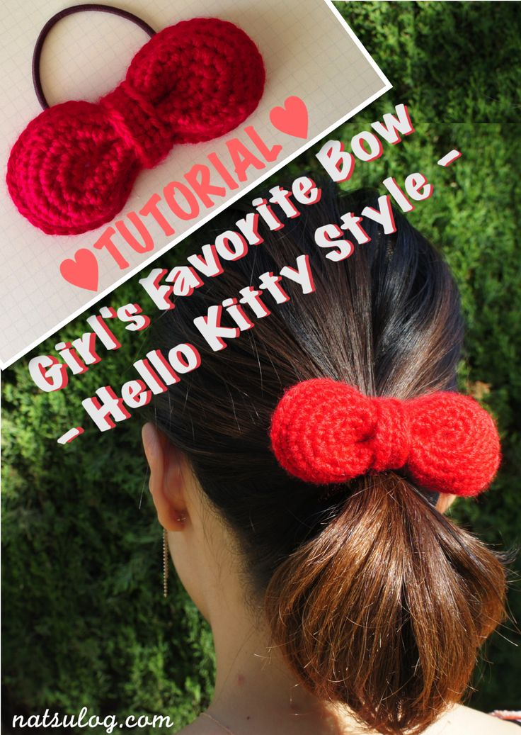 ♥︎Step-by-step Free Crochet Tutorial♥︎ Hello Kitty Style Bow