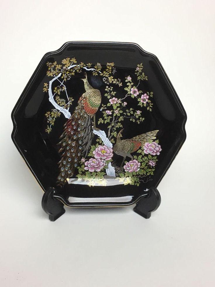"""Vtg Asahi Black Hexagonal Japanese Porcelain Decorative Gold Peacock 7"""" Plate"""