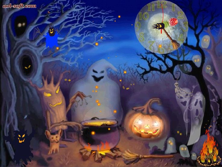 Free Happy Halloween | Happy,Halloween,Live Animated,Live Wallpaper,time,clock,watch,timeline ...