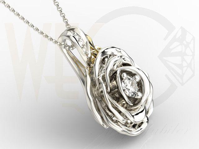 Wisiorek w kształcie róży z białego i żółtego złota z diamentami / Rose-shaped pendant made from white and yellow gold with a diamonds / 5187 PLN #gold #jewelry #diamonds #pendant #bizuteria #zloto #diamenty