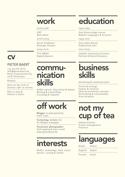 Creative layout for CV. Although the idea of 'not my cup of tea' seems utterly ridiculous to have on a CV.