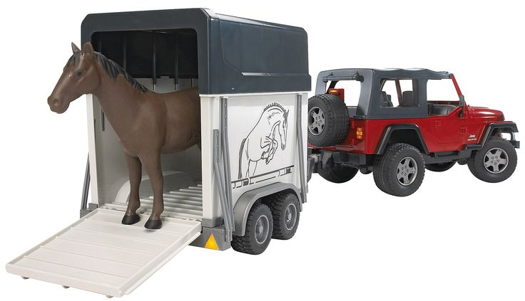 Bruder Jeep Wrangler Unlimited With Horse Trailer 1 Horse Jeep