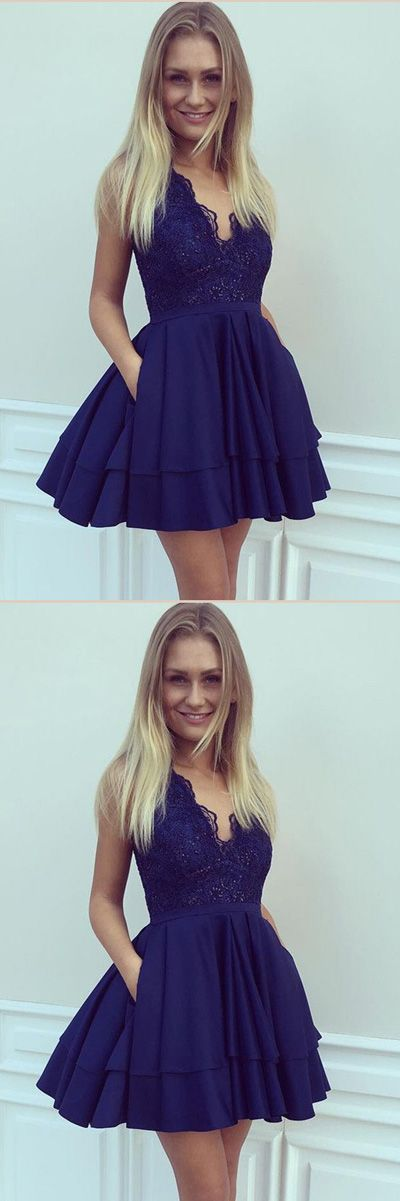 Navy Blue Deep V Neck Sleeveless Homecoming Dress,Appliques Ruffles Short/Mini Prom Dress H241 Short Prom Dresses, Homecoming Dresses, Prom Gowns, Party Dresses, Graduation Dresses, Short Prom Dresses, Gowns Prom, Cheap Prom Gowns on Line