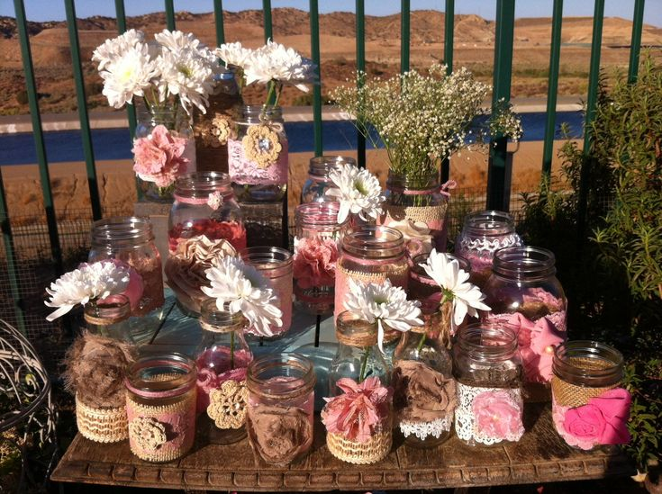 Rustic Pink Wedding Decor 15 Bulk Burlap Lace Mason Jars Lanterns Vases Head Table Decor