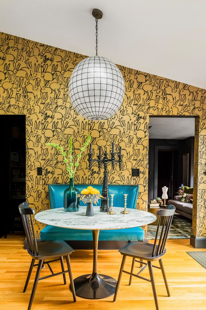 Bold Wallpaper And Statement Furniture Accessories In The Dining Room