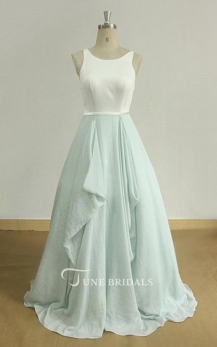 Open Back A Line Boho Wedding With Mint Skirt And Ivory Silk Top Dress