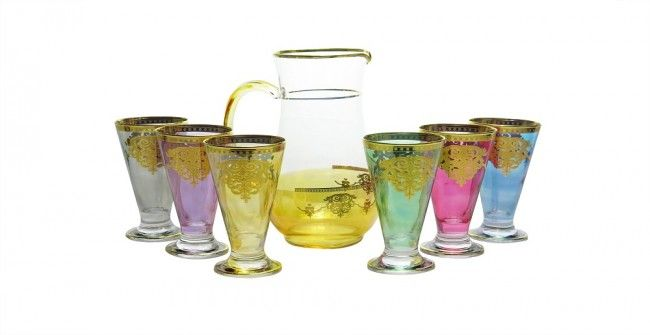 Multi Color Liquor Glasses Gift Set With Pitcher