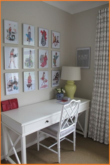 Teen Girls Room - vintage fashion prints. If I had room in my bedroom I would love this