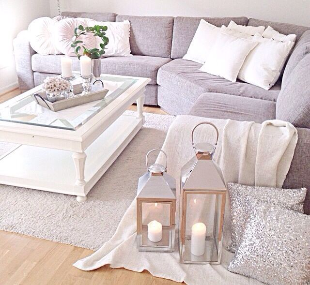 Silver details on lanterns and sequin pillows