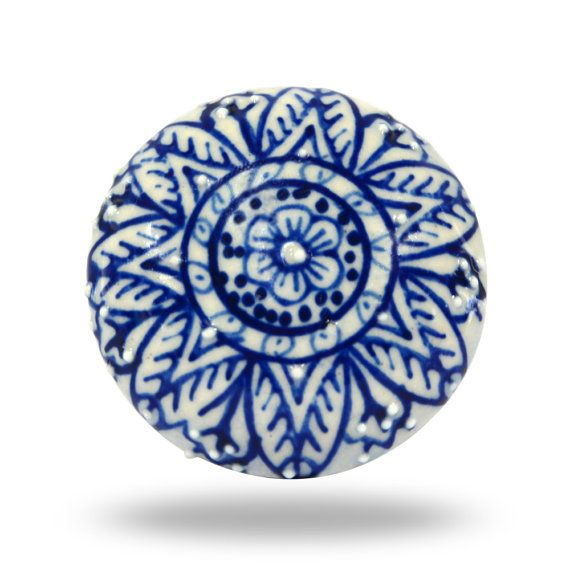 Unique White & Blue Flower Print Ceramic Knob, Decorative Cabinet Hardware…