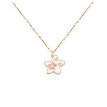 Ένα μοντέρνο κολιέ αστέρι με λευκό σμάλτο από ροζ χρυσό Κ14 με διαμάντι σε κοπή brilliant σε γυαλιστερό φινίρισμα | Κολιέ ΤΣΑΛΔΑΡΗΣ στο Χαλάνδρι #αστερι #διαμαντι #σμαλτο #χρυσο #κολιε