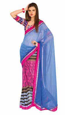 Pink Color Designer Printed Chiffon Saree Sarees on Shimply.com