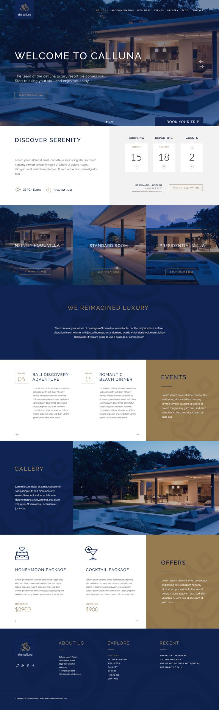 Wordpress Version now available    	The Calluna is a clean hotel & resort PSD Template designed on a the beautiful bootstrap 3.0 in fluid grid mode. It perfectly fits everyone who wants toe create ...