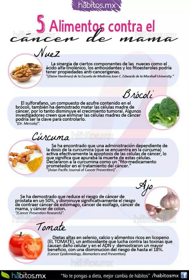 5 alimentos contra el cancer de mama dietas y recetas pinterest - Alimentos contra el cancer de mama ...