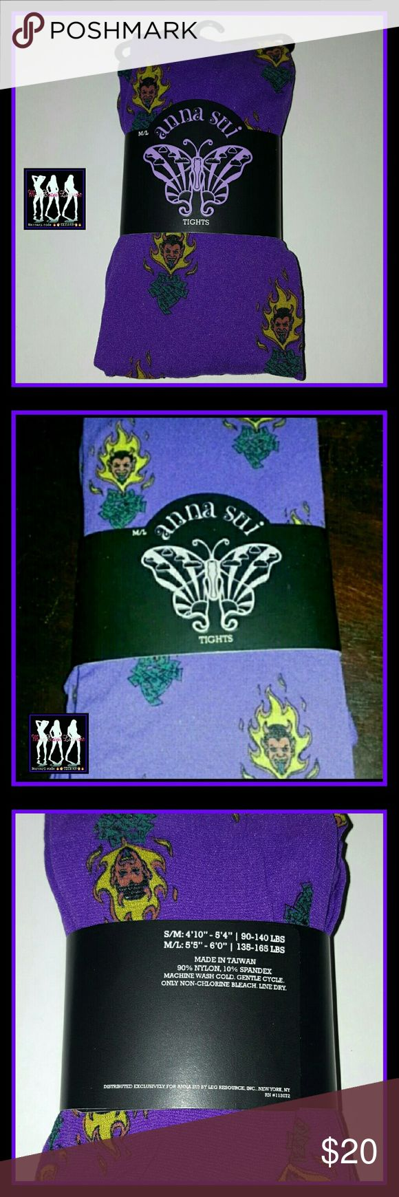 Anna Sui Halloween Novelty Tights (m/l) Brand New and never worn. Purple tights w/ Devils on them. Size medium/large Anna Sui Accessories Hosiery & Socks