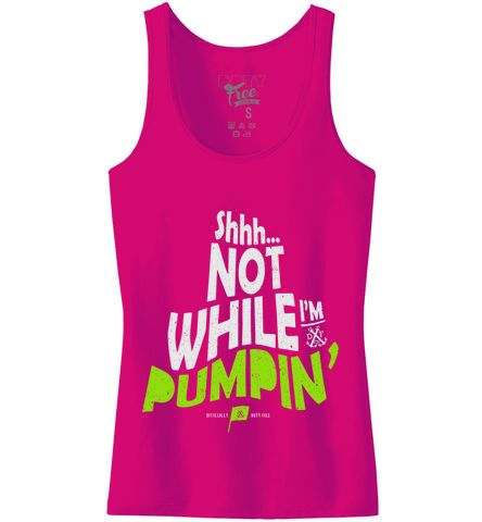 // Shhh...NOT WHILE I'M PUMPIN' TANK TOP // HOT PINK+WHT+NEON GREEN