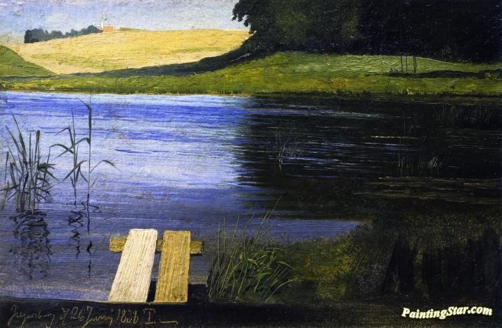 View Of A Pond Artwork by Johan Thomas Lundbye Hand-painted and Art Prints on canvas for sale,you can custom the size and frame