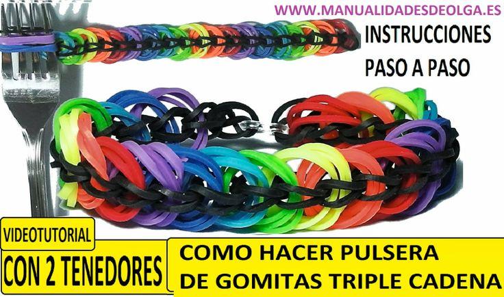 COMO HACER UNA PULSERA DE GOMITAS TRIPLE CADENA CON 2 TENEDORES SIN TELA...