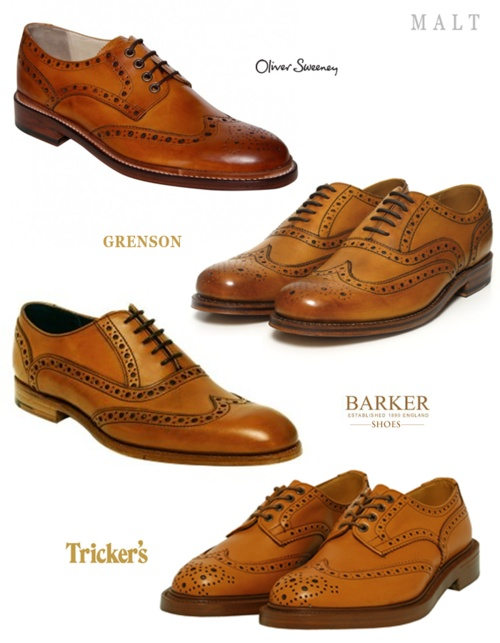 maltfashion: Tan Leather Brogue Picks Oliver Sweeney Country Saunders Brogues Barker Leather Grant Shoes Grenson Stanley Brogue Tricker's Acorn Tan Brogue Bourton Shoes