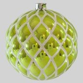 100mm Shiny Lime White Glitter Quilted ball Code: BADE010LIWHGLQUT