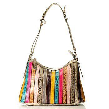 "Madi Claire Croco Embossed Leather ""Kristin"" Multi Color Shoulder Bag"