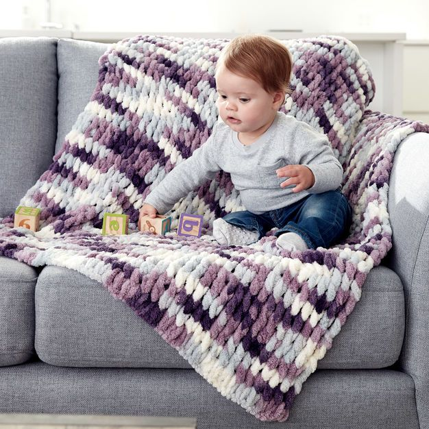 Bernat Alize Ez Baby Blanket Hand Knit Blanket Finger