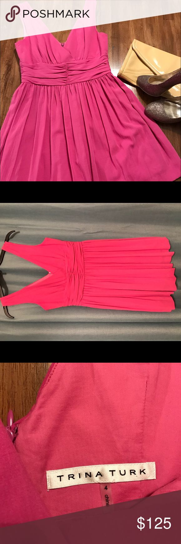 Pink Trina Turk Cocktail Dress Excellent condition Trina Turk Cocktail Mini Dress. The color is a purple-ish pink. Perfect for a wedding, or can even dress it down on a spring day with a denim jacket. Trina Turk Dresses Mini