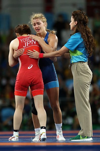 Helen Louise Maroulis of the United States consoles Saori Yoshida of Japan after…